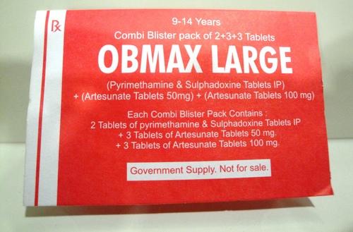 OBMAX LARGE (SULPHADOXINE & PYRIMETHAMINE TABLETS IP) + (ARTESUNATE TABLETS)