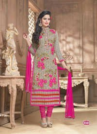 Grey Cotton Casual Wear Salwar Suit