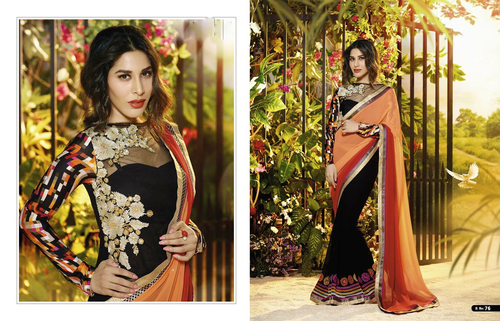 Multicolor Georgette Embroidery Designer Saree