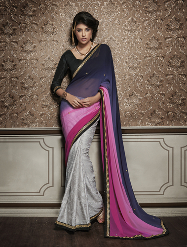 Multicolor georgette and brasso designer saree with bhgalpuri blouse