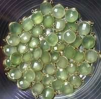 Green Chalcedony Gemstone Connector-Per Pice