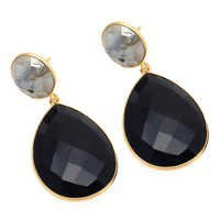 Black Onyx & Labradorite Gemstone Earring