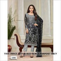 Grey and Black Georgette Partywear Salwar Suit.