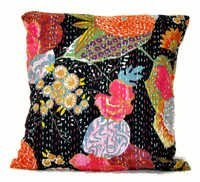 Black Kantha Pillow