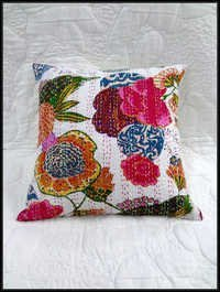 Flower kantha white pillow cover