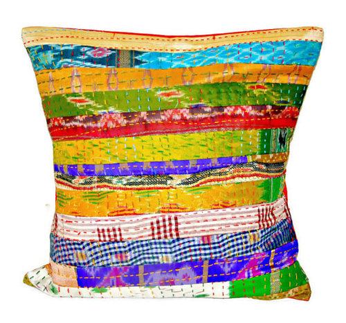 Silk Kantha Decorative Pillow cover