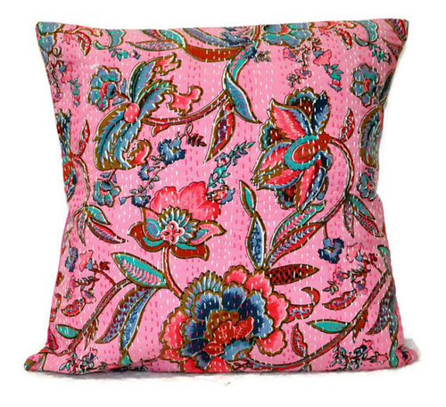 Pink Kantha Cushion Cover