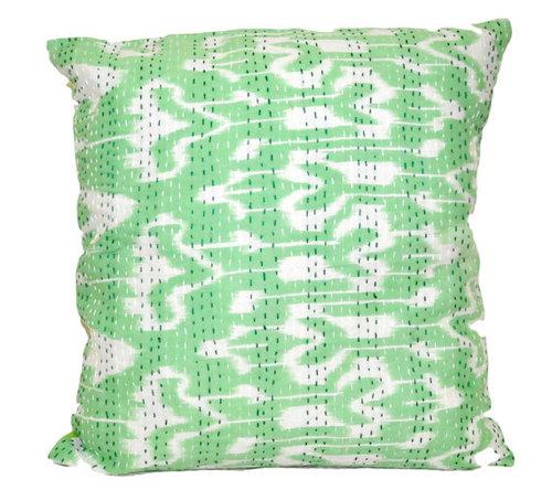 Green Ikat Cushion Cover