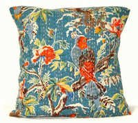 Blue Kantha Pillow Cover