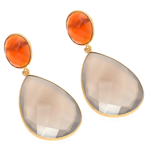 Gray & Orange Chalcedony Gemstone Earring