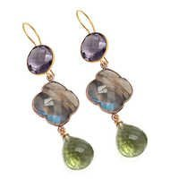GreenAmethyst/Labradorite&Amethyst GemstoneEarring