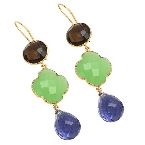Water Sapphire , Sea Green Chalcedony & Smoky Topaz Gemstone Earring
