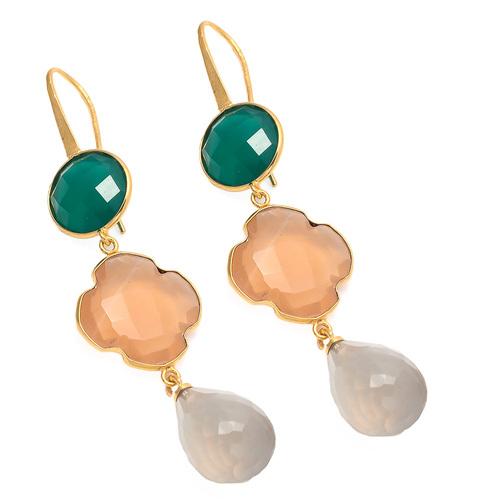 Gray Chalcedony , Peach Chalcedony & Green Onyx Gemstone Earring