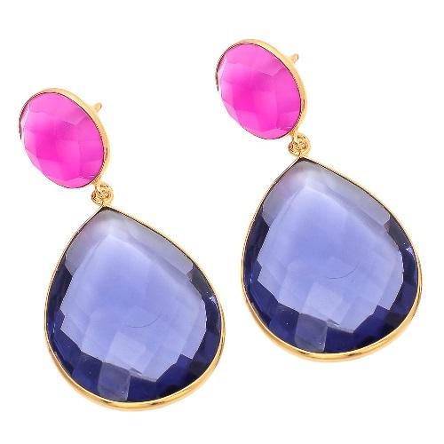 Water Sapphire & Fuchsia Chalcedony Gestone Earring