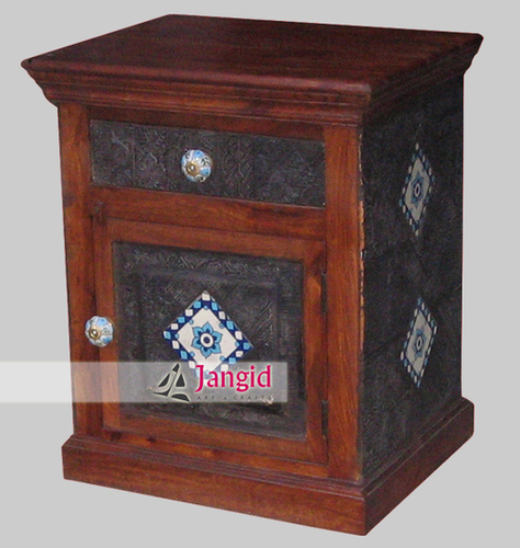 Wooden Carved Textile Block Fitted Bedside