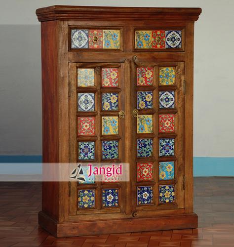Indian Wooden Ceramic Tile Bedroom Almirah