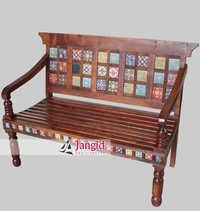 Indian Wooden Hotel Waiting Room Bench