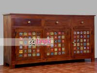 Handmade Wooden Colorful Living Room Sideboard