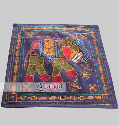 Indian Elephant Aari Work Pillow Cover
