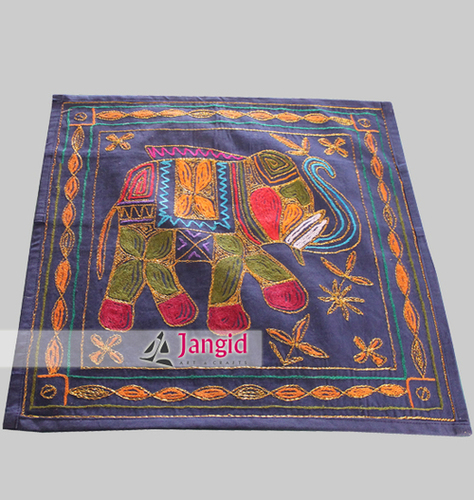 Indian Elephant Aari Work Pillow Cover