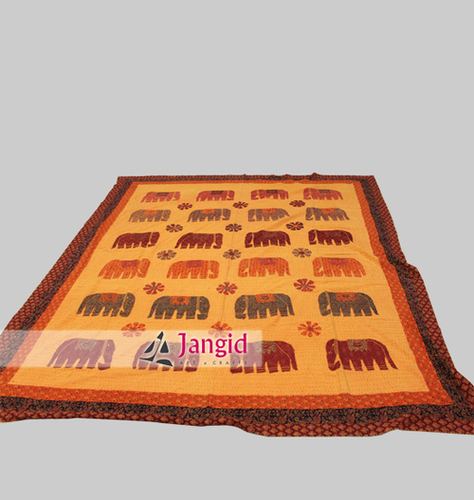 Handcrafted Aari Elephant Cotton Bed Cover