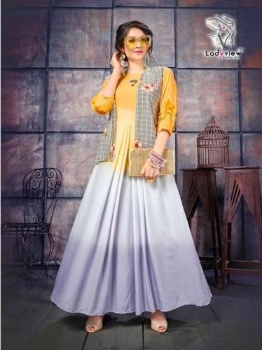 Designer long kurti with shrug