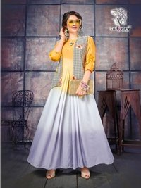 Designer long kurti with shrug