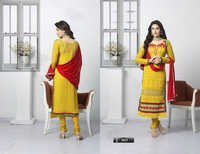 EMBROIDERED DESIGNER YELLOW STRAIGHT SUIT