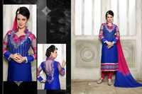 DESIGNER BLUE AND PINK STRAIGHT SUIT