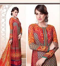 Multicolored Partywear Salwar Suit with Chiffon Dupatta.