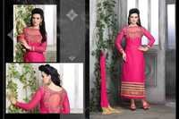 PINK STRAIGHT SUIT WITH HEAVY BORDER