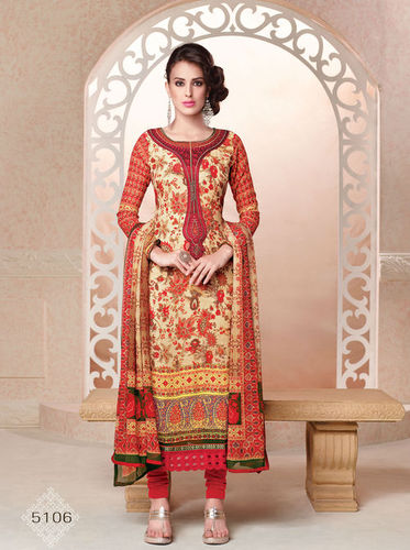 Georgette Multicolored Embroidery Work Salwar Suit.