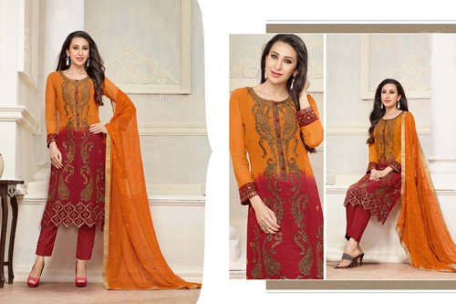 DESIGNER ORANGE AND MAROON STRAIGHT PLAZO SUIT
