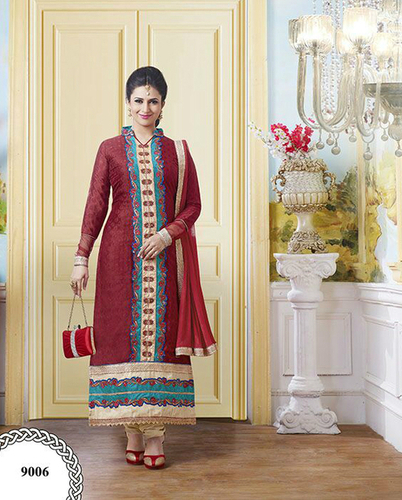 Elegant Red Georgette Unstitched Salwar Kameez