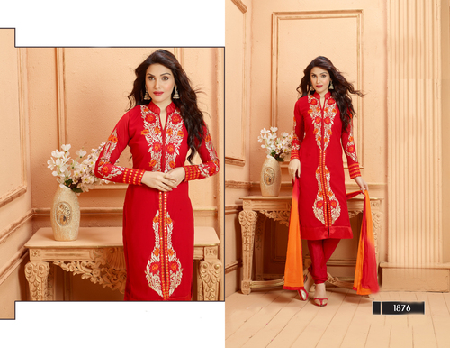 DESIGNER RED STRAIGHT SUIT