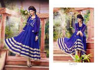 NET BRASSO DESIGNER BLUE & CREAM ANARKALI SUITS