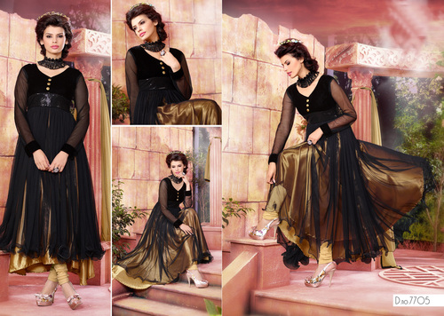 NET BRASSO DESIGNER GOLDEN & BLACK ANARKALI SUITS
