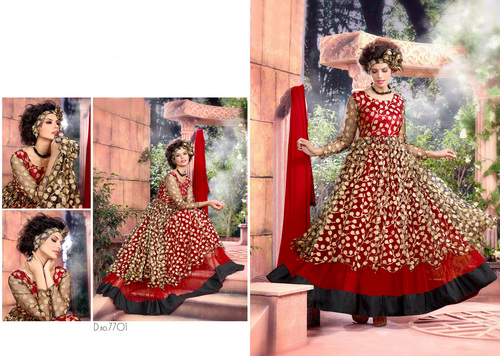 NET BRASSO DESIGNER RED & BLACK ANARKALI SUITS