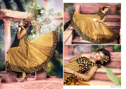 YELLOW & BLACK ANARKALI SUITS
