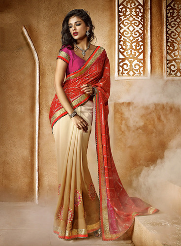 CREAM AND PEACH SHADED HEAVY BORDER DESIGNER SAREE