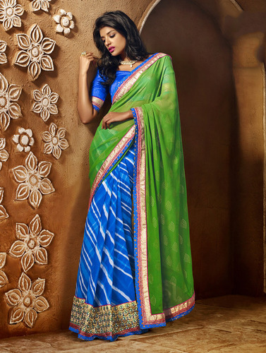 GREEN AND BLUE SHADED HEAVY BORDER DESIGNER SAREE
