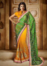 YELLOW SHADED HEAVY BORDER DESIGNER SAREE