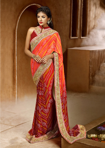 ORANGE SHADED HEAVY BORDER SAREE