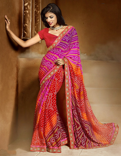 RED SHADED HEAVY BORDER DESIGNER SAREE