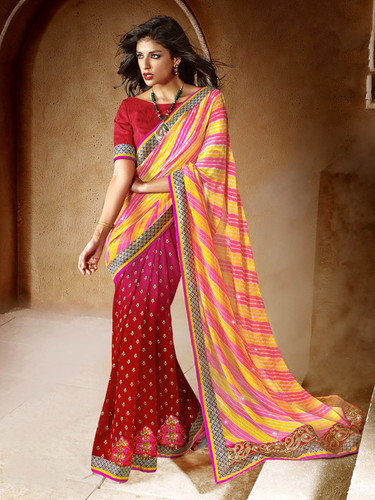RED AND PINK BANDHANI SAREE