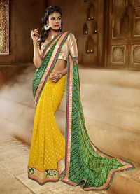 YELLOW AND GREEN SHADED SAREE