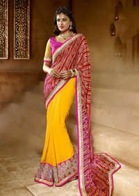 YELLOW AND PINK HEAVY BORDER DESIGNER SAREE