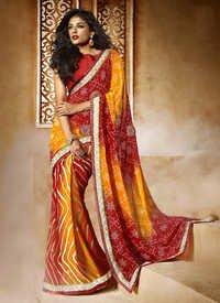 YELLOW AND RED SHADED HEAVY BORDER DESIGNER SAREE