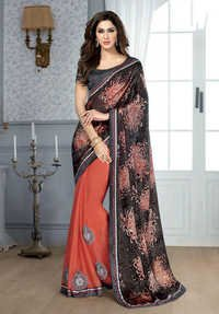 BLACK & PEACH DESIGNER SAREE