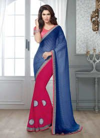NEW ATTRACTIVE BLUE & PINK DESIGNER SAREE